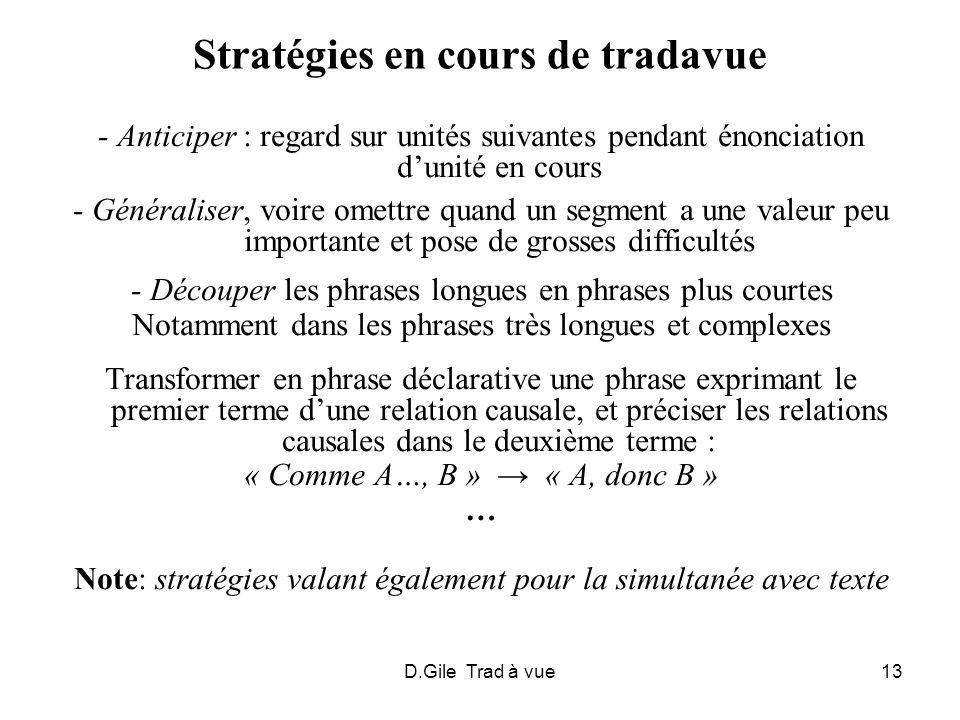 D.Gile Trad à vue13 Stratégies en cours de tradavue - Anticiper : regard sur unités suivantes pendant énonciation dunité en cours - Généraliser, voire