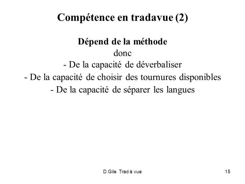 D.Gile Trad à vue15 Compétence en tradavue (2) Dépend de la méthode donc - De la capacité de déverbaliser - De la capacité de choisir des tournures di
