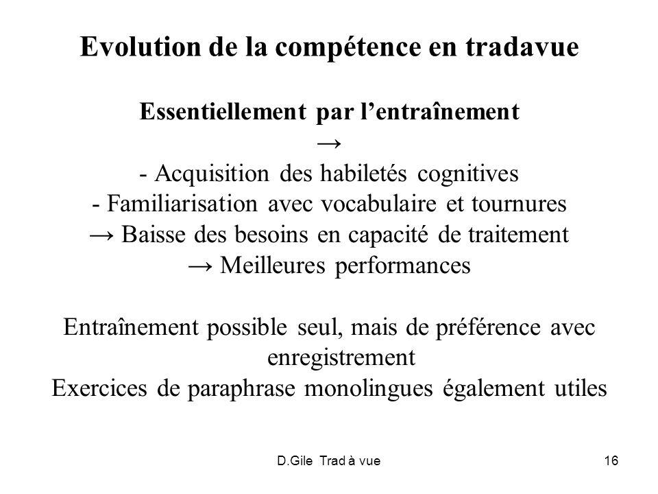 D.Gile Trad à vue16 Evolution de la compétence en tradavue Essentiellement par lentraînement - Acquisition des habiletés cognitives - Familiarisation