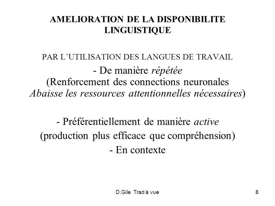 D.Gile Trad à vue8 AMELIORATION DE LA DISPONIBILITE LINGUISTIQUE PAR LUTILISATION DES LANGUES DE TRAVAIL - De manière répétée (Renforcement des connec