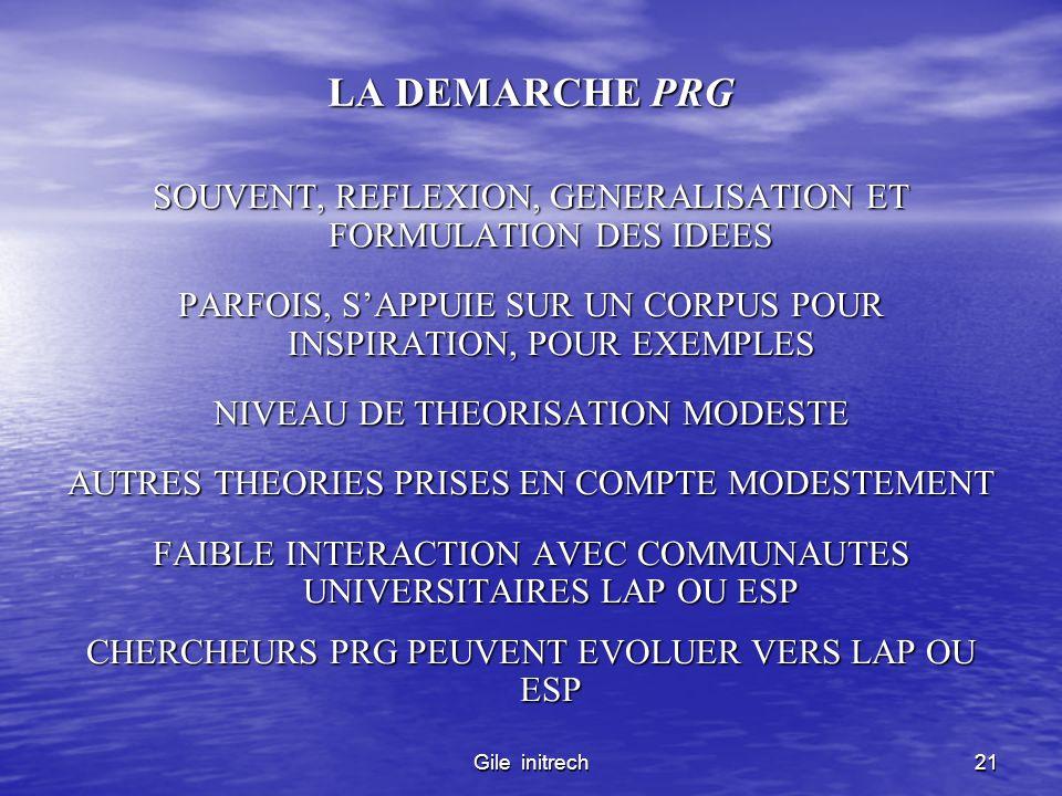 Gile initrech21 LA DEMARCHE PRG SOUVENT, REFLEXION, GENERALISATION ET FORMULATION DES IDEES PARFOIS, SAPPUIE SUR UN CORPUS POUR INSPIRATION, POUR EXEM