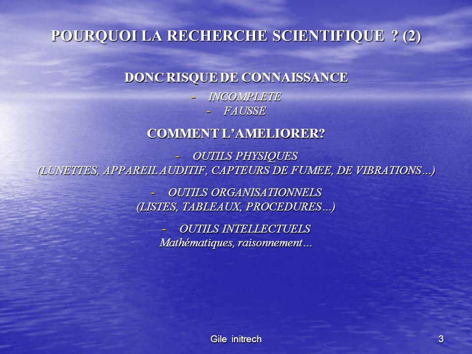 Gile initrech3 POURQUOI LA RECHERCHE SCIENTIFIQUE ? (2) DONC RISQUE DE CONNAISSANCE - INCOMPLETE - FAUSSE COMMENT LAMELIORER? - OUTILS PHYSIQUES (LUNE