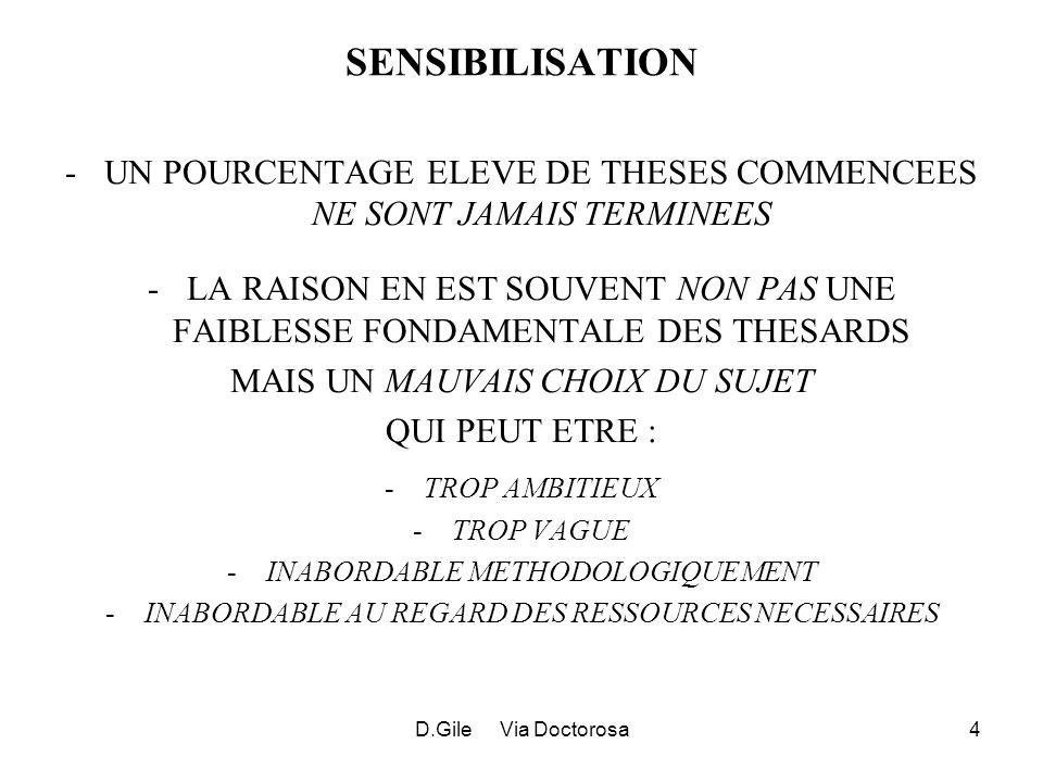 D.Gile Via Doctorosa4 SENSIBILISATION -UN POURCENTAGE ELEVE DE THESES COMMENCEES NE SONT JAMAIS TERMINEES -LA RAISON EN EST SOUVENT NON PAS UNE FAIBLESSE FONDAMENTALE DES THESARDS MAIS UN MAUVAIS CHOIX DU SUJET QUI PEUT ETRE : -TROP AMBITIEUX -TROP VAGUE -INABORDABLE METHODOLOGIQUEMENT -INABORDABLE AU REGARD DES RESSOURCES NECESSAIRES