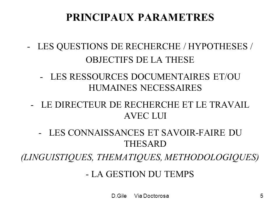 D.Gile Via Doctorosa5 PRINCIPAUX PARAMETRES -LES QUESTIONS DE RECHERCHE / HYPOTHESES / OBJECTIFS DE LA THESE -LES RESSOURCES DOCUMENTAIRES ET/OU HUMAINES NECESSAIRES -LE DIRECTEUR DE RECHERCHE ET LE TRAVAIL AVEC LUI -LES CONNAISSANCES ET SAVOIR-FAIRE DU THESARD (LINGUISTIQUES, THEMATIQUES, METHODOLOGIQUES) - LA GESTION DU TEMPS