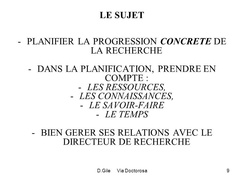 D.Gile Via Doctorosa9 LE SUJET -PLANIFIER LA PROGRESSION CONCRETE DE LA RECHERCHE -DANS LA PLANIFICATION, PRENDRE EN COMPTE : -LES RESSOURCES, -LES CONNAISSANCES, -LE SAVOIR-FAIRE -LE TEMPS -BIEN GERER SES RELATIONS AVEC LE DIRECTEUR DE RECHERCHE