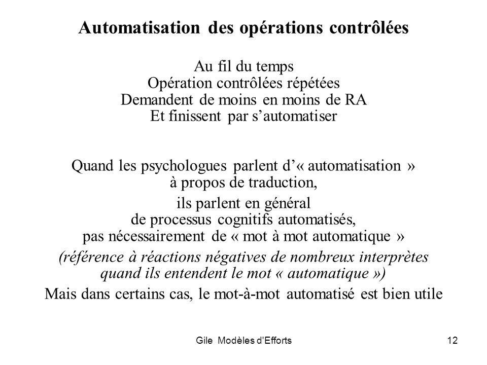 Gile Modèles d'Efforts12 Automatisation des opérations contrôlées Au fil du temps Opération contrôlées répétées Demandent de moins en moins de RA Et f