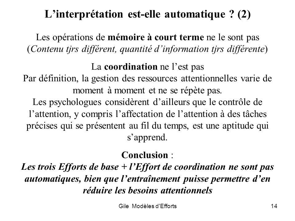 Gile Modèles d'Efforts14 Linterprétation est-elle automatique ? (2) Les opérations de mémoire à court terme ne le sont pas (Contenu tjrs différent, qu
