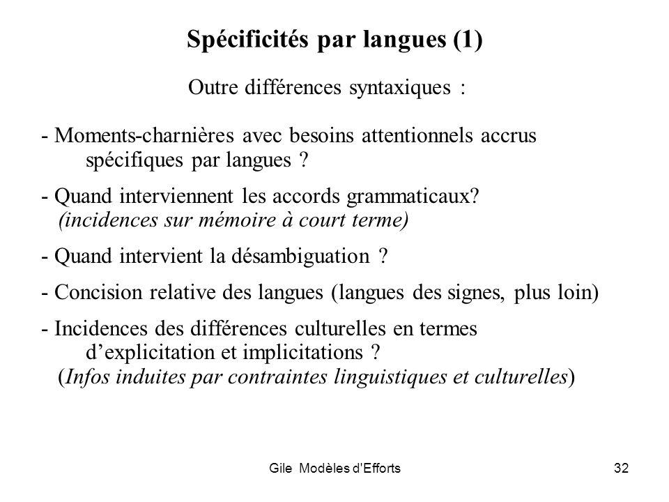 Gile Modèles d'Efforts32 Spécificités par langues (1) Outre différences syntaxiques : - Moments-charnières avec besoins attentionnels accrus spécifiqu