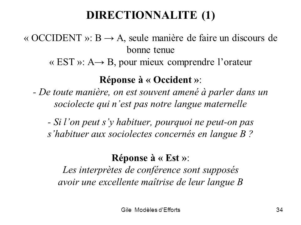 Gile Modèles d'Efforts34 DIRECTIONNALITE (1) « OCCIDENT »: B A, seule manière de faire un discours de bonne tenue « EST »: A B, pour mieux comprendre