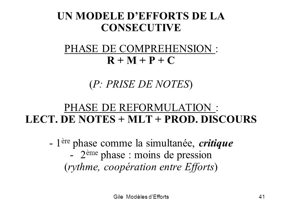 Gile Modèles d'Efforts41 UN MODELE DEFFORTS DE LA CONSECUTIVE PHASE DE COMPREHENSION : R + M + P + C (P: PRISE DE NOTES) PHASE DE REFORMULATION : LECT