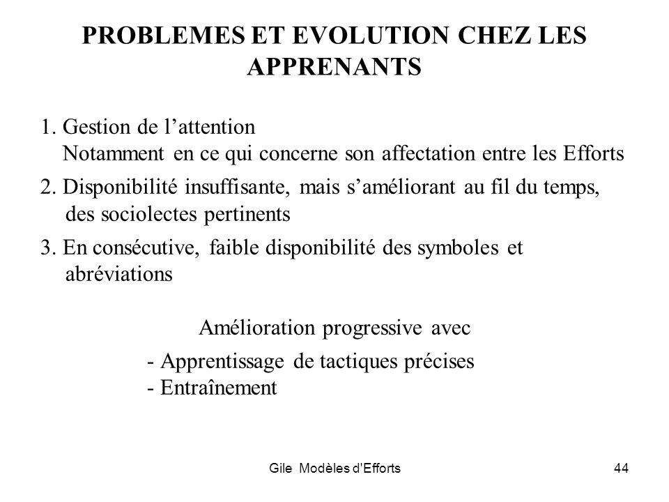 Gile Modèles d'Efforts44 PROBLEMES ET EVOLUTION CHEZ LES APPRENANTS 1. Gestion de lattention Notamment en ce qui concerne son affectation entre les Ef