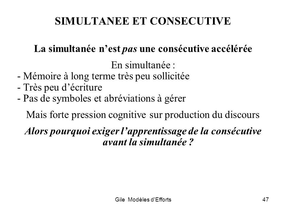 Gile Modèles d'Efforts47 SIMULTANEE ET CONSECUTIVE La simultanée nest pas une consécutive accélérée En simultanée : - Mémoire à long terme très peu so