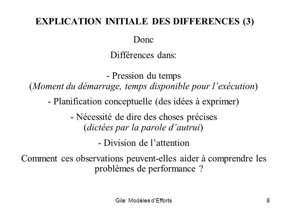 Gile Modèles d'Efforts8 EXPLICATION INITIALE DES DIFFERENCES (3) Donc Différences dans: - Pression du temps (Moment du démarrage, temps disponible pou