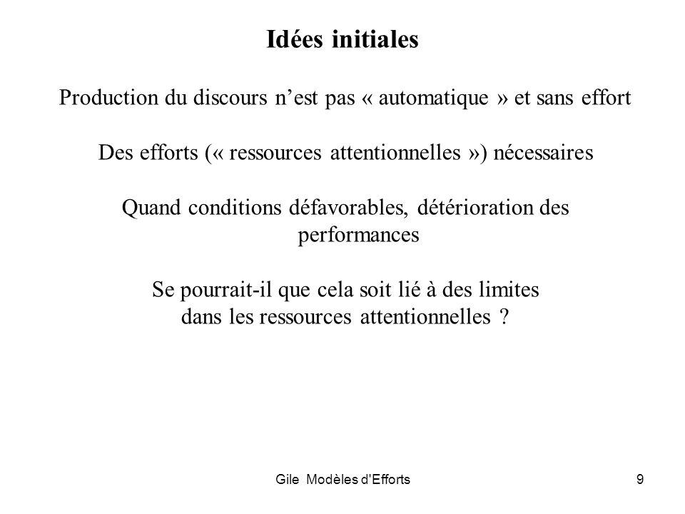 Gile Modèles d'Efforts9 Idées initiales Production du discours nest pas « automatique » et sans effort Des efforts (« ressources attentionnelles ») né