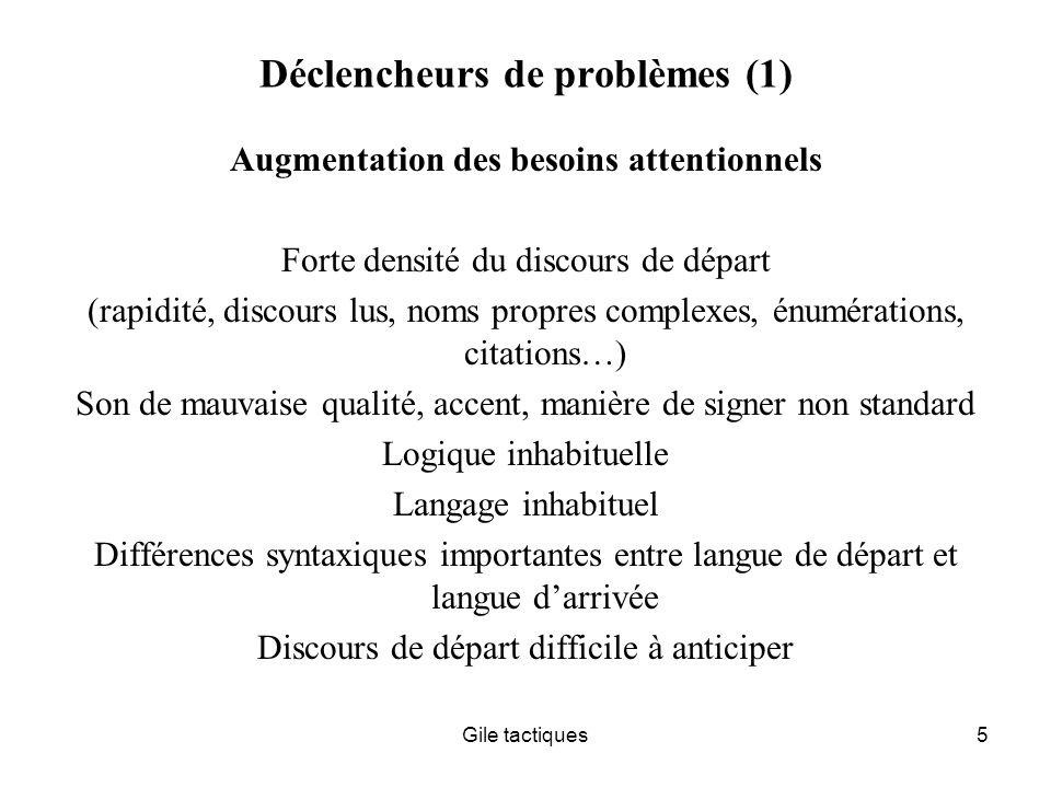 Gile tactiques6 Déclencheurs de problèmes (2) Vulnérabilité du signal Faible redondance et/ou Signal court Nombres, Noms courts Signes Sigles Mots courts, par exemple en chinois, japonais, coréen…