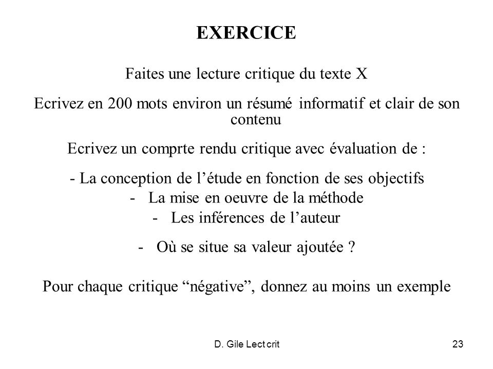 D. Gile Lect crit23 EXERCICE Faites une lecture critique du texte X Ecrivez en 200 mots environ un résumé informatif et clair de son contenu Ecrivez u