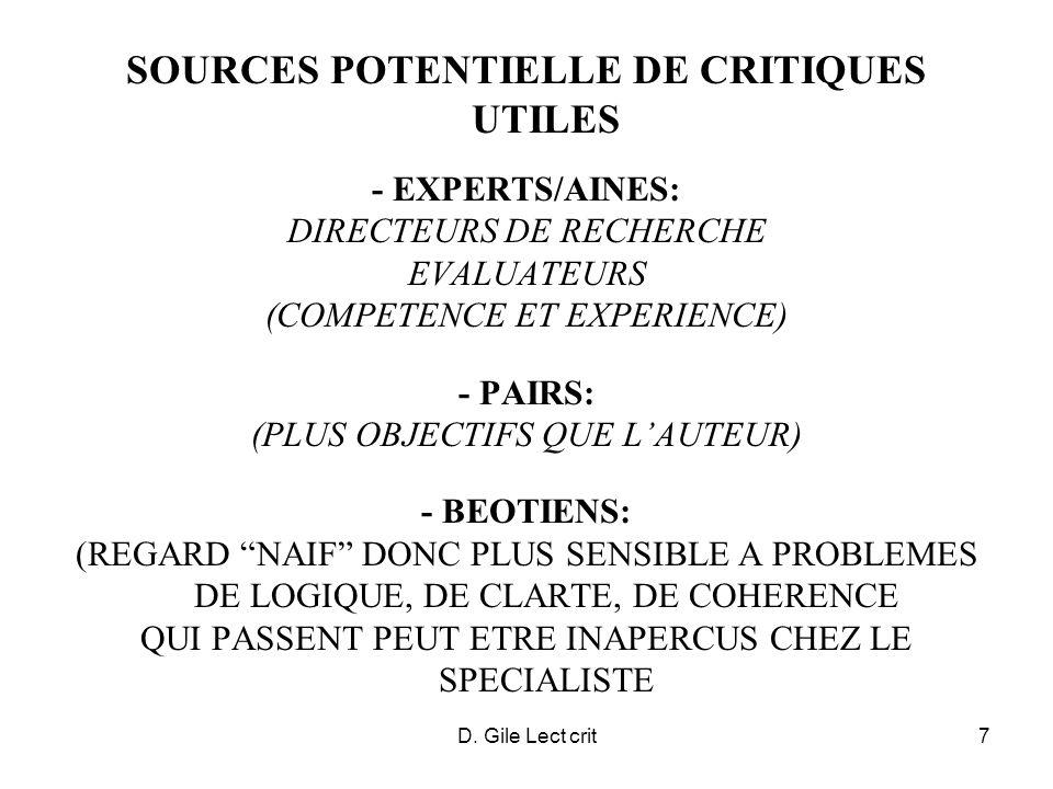 D. Gile Lect crit7 SOURCES POTENTIELLE DE CRITIQUES UTILES - EXPERTS/AINES: DIRECTEURS DE RECHERCHE EVALUATEURS (COMPETENCE ET EXPERIENCE) - PAIRS: (P