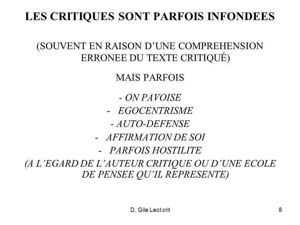 D. Gile Lect crit8 LES CRITIQUES SONT PARFOIS INFONDEES (SOUVENT EN RAISON DUNE COMPREHENSION ERRONEE DU TEXTE CRITIQUÉ) MAIS PARFOIS - ON PAVOISE -EG