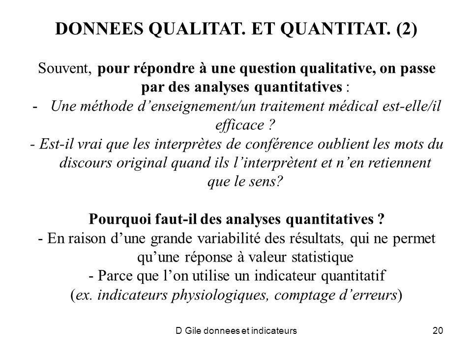 DONNEES QUALITAT. ET QUANTITAT. (2) Souvent, pour répondre à une question qualitative, on passe par des analyses quantitatives : -Une méthode denseign