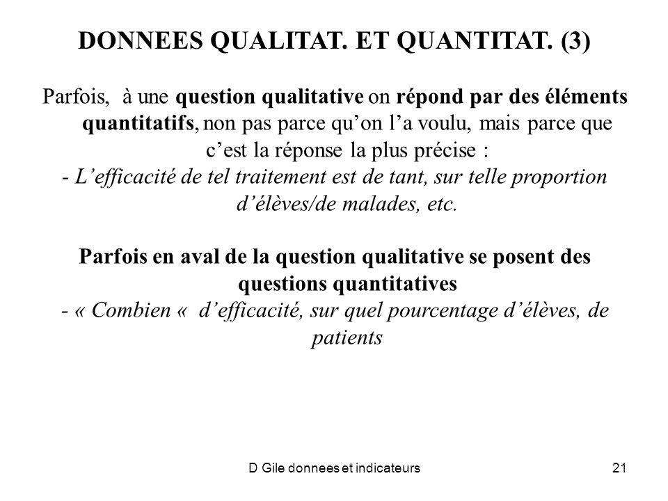 DONNEES QUALITAT. ET QUANTITAT. (3) Parfois, à une question qualitative on répond par des éléments quantitatifs, non pas parce quon la voulu, mais par