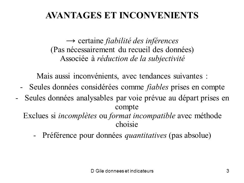 AVANTAGES ET INCONVENIENTS certaine fiabilité des inférences (Pas nécessairement du recueil des données) Associée à réduction de la subjectivité Mais