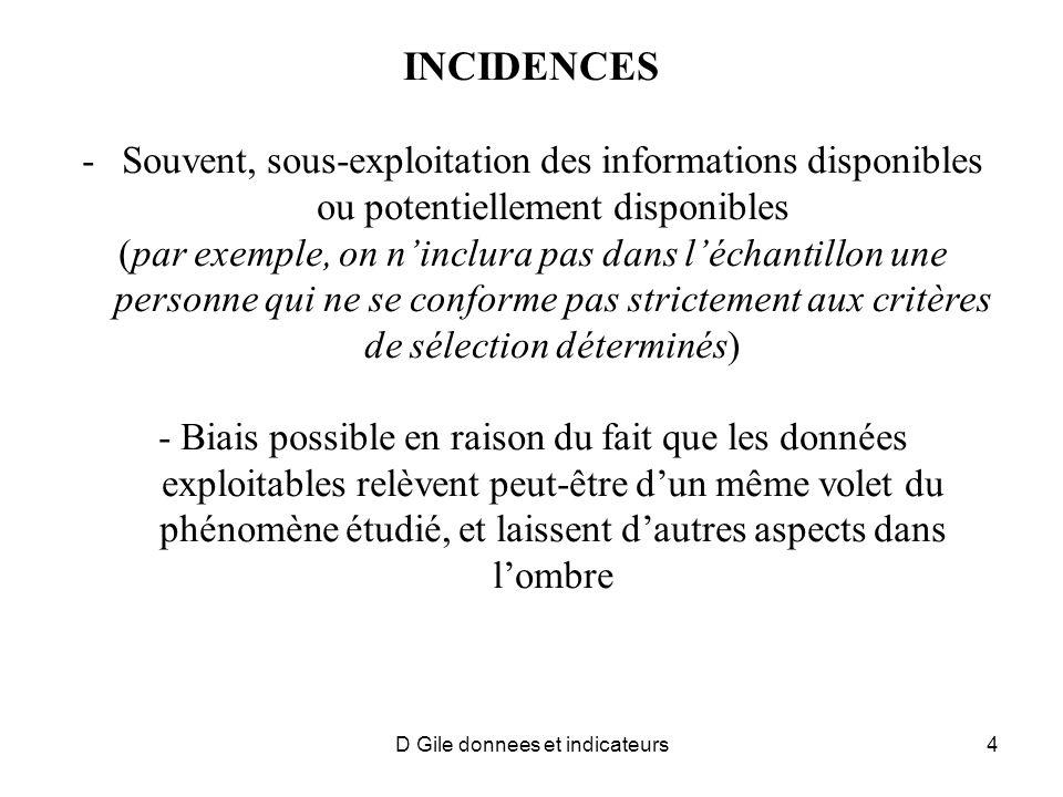 INCIDENCES -Souvent, sous-exploitation des informations disponibles ou potentiellement disponibles (par exemple, on ninclura pas dans léchantillon une