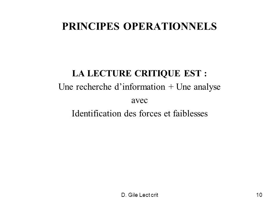 D. Gile Lect crit10 PRINCIPES OPERATIONNELS LA LECTURE CRITIQUE EST : Une recherche dinformation + Une analyse avec Identification des forces et faibl