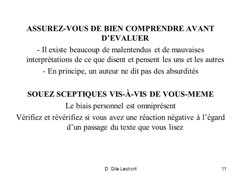 D.Gile Lect crit12 COMPREHENSION (1): OBJECTIFS DE LAUTEUR Question de recherche Hypothèse .