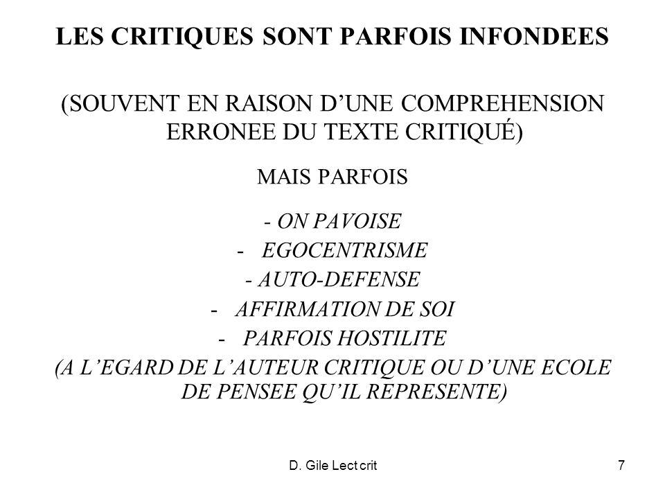 D. Gile Lect crit7 LES CRITIQUES SONT PARFOIS INFONDEES (SOUVENT EN RAISON DUNE COMPREHENSION ERRONEE DU TEXTE CRITIQUÉ) MAIS PARFOIS - ON PAVOISE -EG