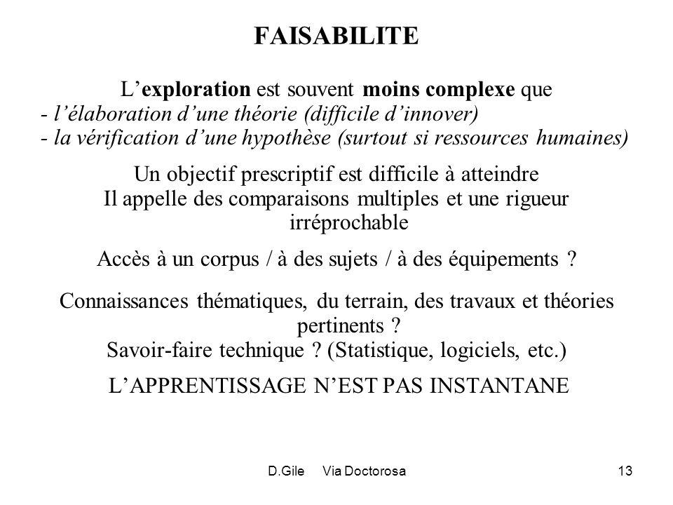 D.Gile Via Doctorosa13 FAISABILITE Lexploration est souvent moins complexe que - lélaboration dune théorie (difficile dinnover) - la vérification dune