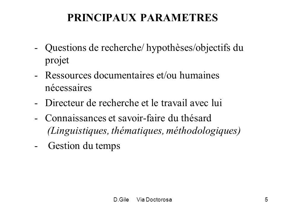 D.Gile Via Doctorosa5 PRINCIPAUX PARAMETRES -Questions de recherche/ hypothèses/objectifs du projet -Ressources documentaires et/ou humaines nécessair