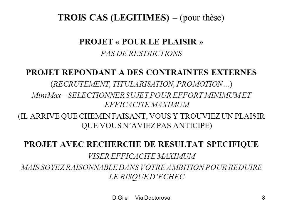 D.Gile Via Doctorosa8 TROIS CAS (LEGITIMES) – (pour thèse) PROJET « POUR LE PLAISIR » PAS DE RESTRICTIONS PROJET REPONDANT A DES CONTRAINTES EXTERNES