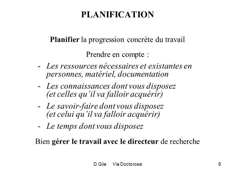 D.Gile Via Doctorosa9 PLANIFICATION Planifier la progression concrète du travail Prendre en compte : -Les ressources nécessaires et existantes en pers