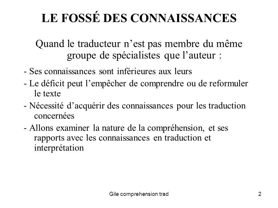 Gile comprehension trad3 ENONCES : QUE COMPREND LE LECTEUR .