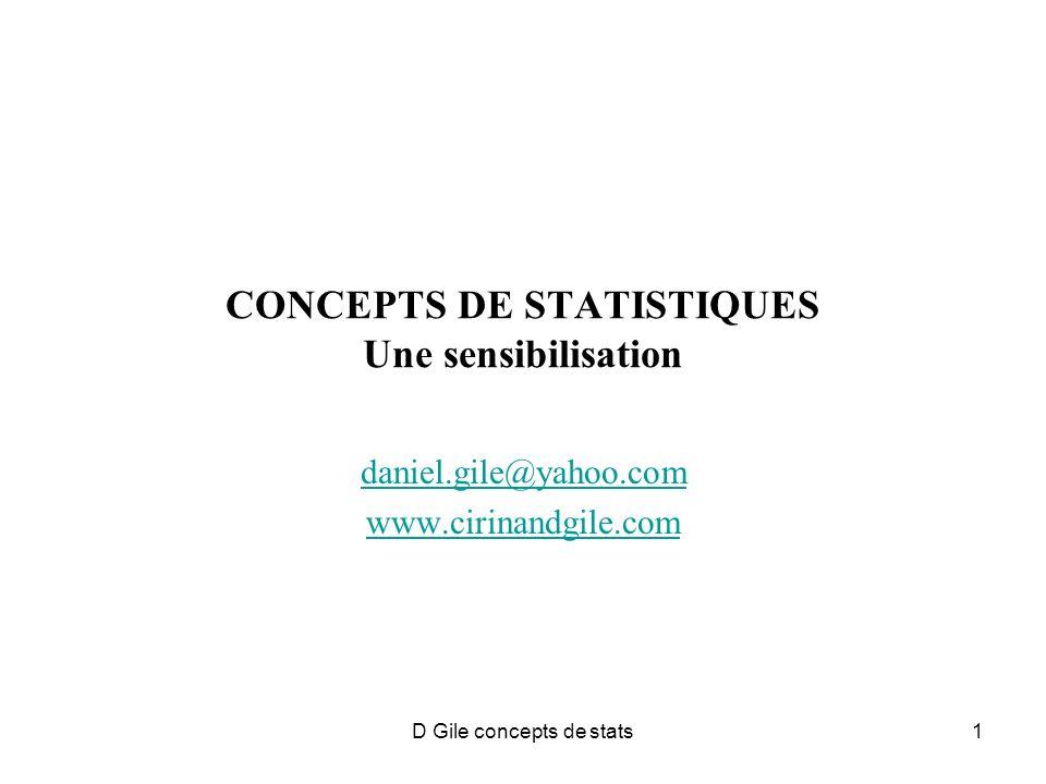 D Gile concepts de stats1 CONCEPTS DE STATISTIQUES Une sensibilisation daniel.gile@yahoo.com www.cirinandgile.com