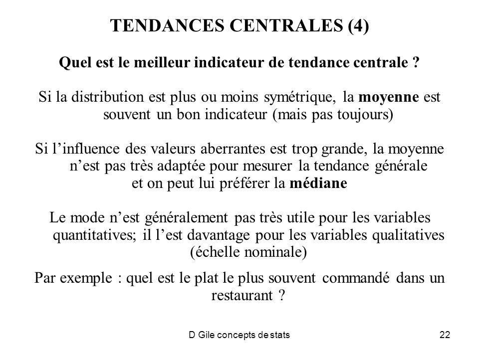 D Gile concepts de stats22 TENDANCES CENTRALES (4) Quel est le meilleur indicateur de tendance centrale .