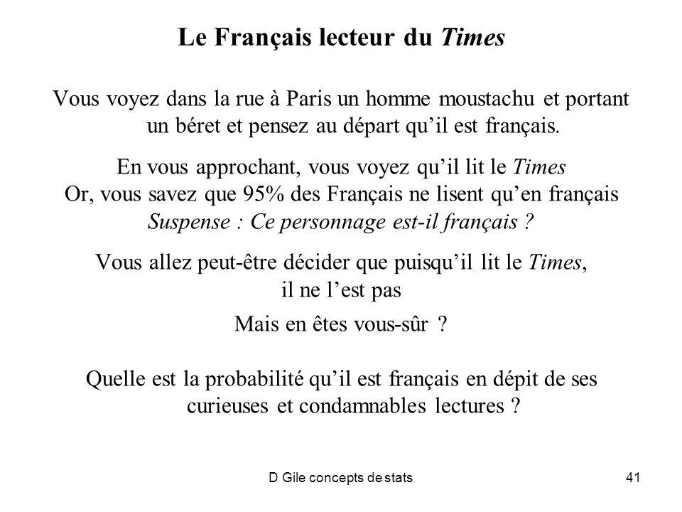D Gile concepts de stats41 Le Français lecteur du Times Vous voyez dans la rue à Paris un homme moustachu et portant un béret et pensez au départ quil est français.