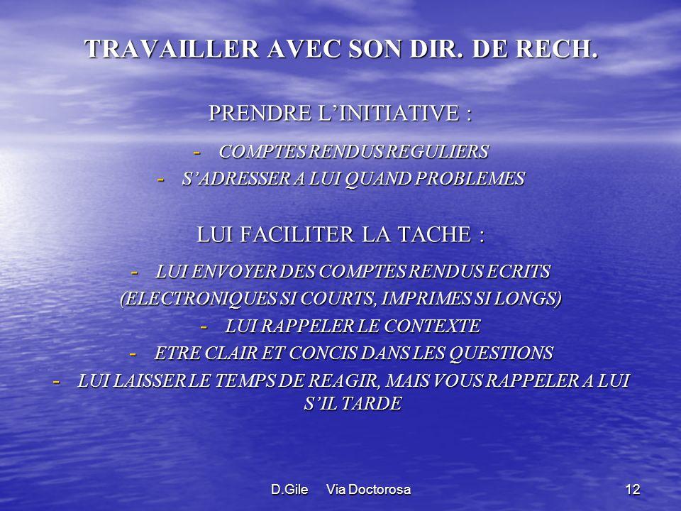D.Gile Via Doctorosa12 TRAVAILLER AVEC SON DIR.DE RECH.