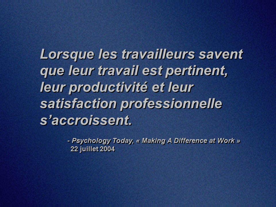 Lorsque les travailleurs savent que leur travail est pertinent, leur productivité et leur satisfaction professionnelle saccroissent.