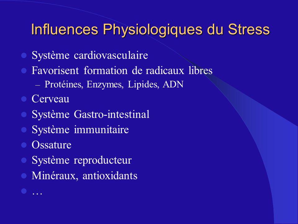 Influences Physiologiques du Stress Système cardiovasculaire Favorisent formation de radicaux libres – Protéines, Enzymes, Lipides, ADN Cerveau Systèm
