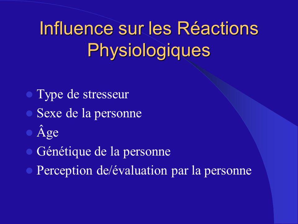 Influence sur les Réactions Physiologiques Type de stresseur Sexe de la personne Âge Génétique de la personne Perception de/évaluation par la personne