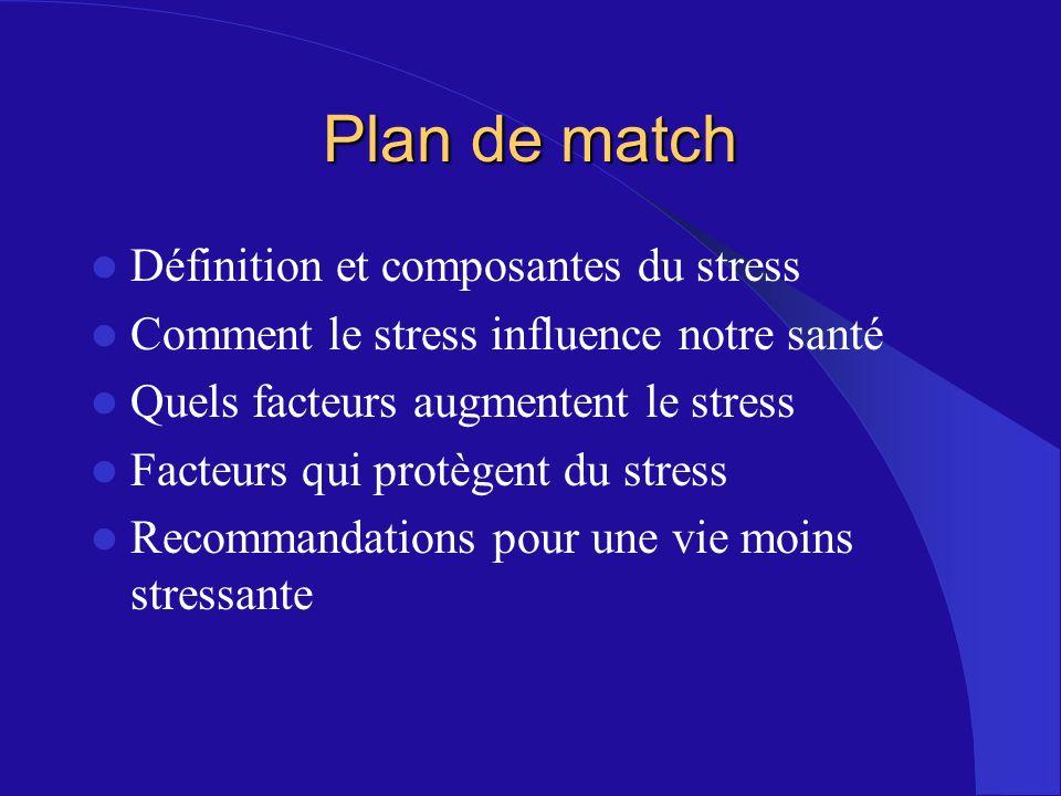Plan de match Définition et composantes du stress Comment le stress influence notre santé Quels facteurs augmentent le stress Facteurs qui protègent d