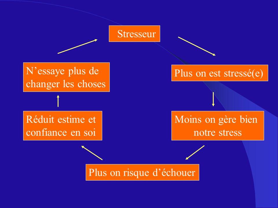 Plus on est stressé(e) Moins on gère bien notre stress Plus on risque déchouer Réduit estime et confiance en soi Nessaye plus de changer les choses St