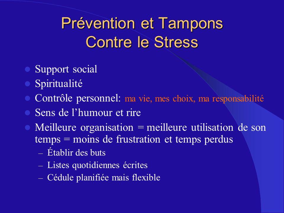 Prévention et Tampons Contre le Stress Support social Spiritualité Contrôle personnel: ma vie, mes choix, ma responsabilité Sens de lhumour et rire Me