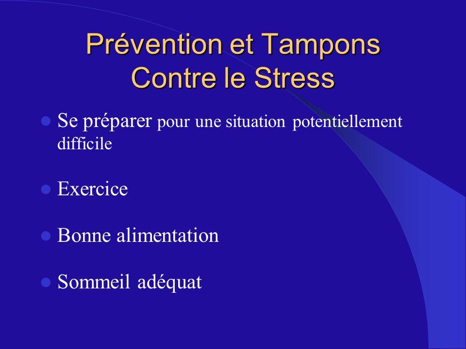 Prévention et Tampons Contre le Stress Se préparer pour une situation potentiellement difficile Exercice Bonne alimentation Sommeil adéquat
