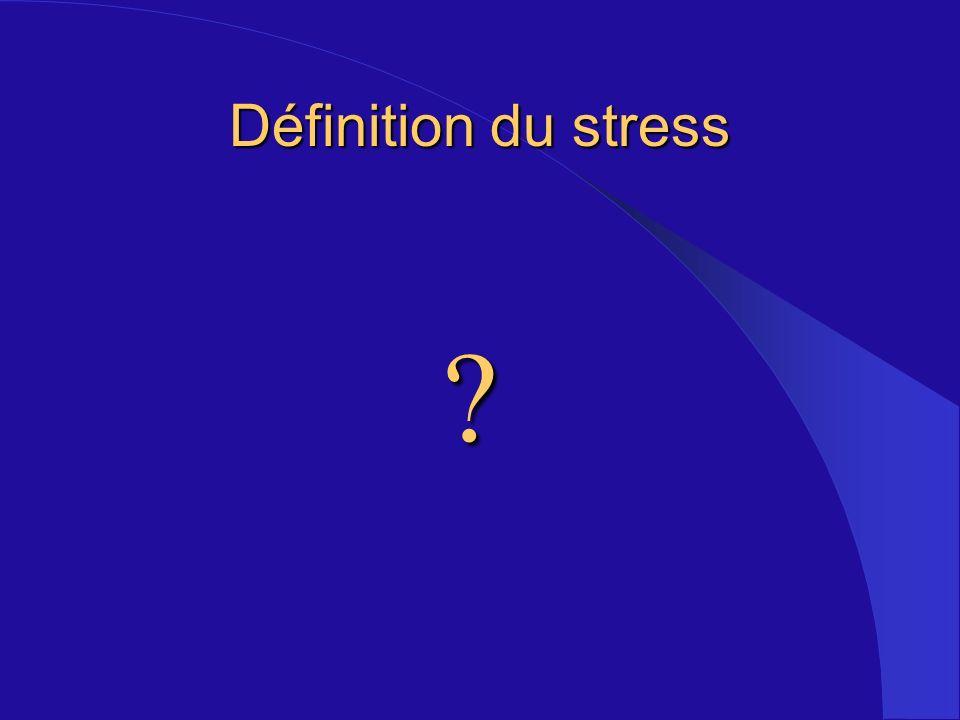 - Une réaction émotive négative à un événement - Changements prévisibles au niveau - biochimique, - physiologique - cognitif, - comportemental - Changements qui visent à changer lévénement ou à sy adapter