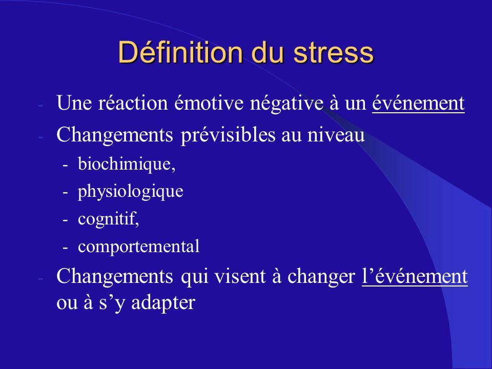 - Une réaction émotive négative à un événement - Changements prévisibles au niveau - biochimique, - physiologique - cognitif, - comportemental - Chang