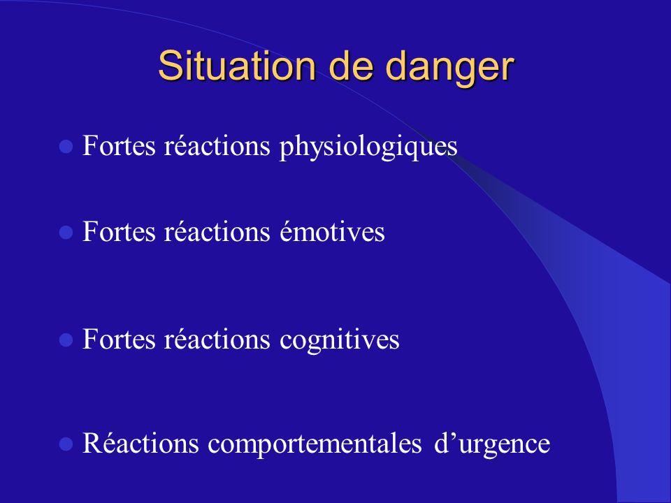 Situation de danger Fortes réactions physiologiques Fortes réactions émotives Fortes réactions cognitives Réactions comportementales durgence
