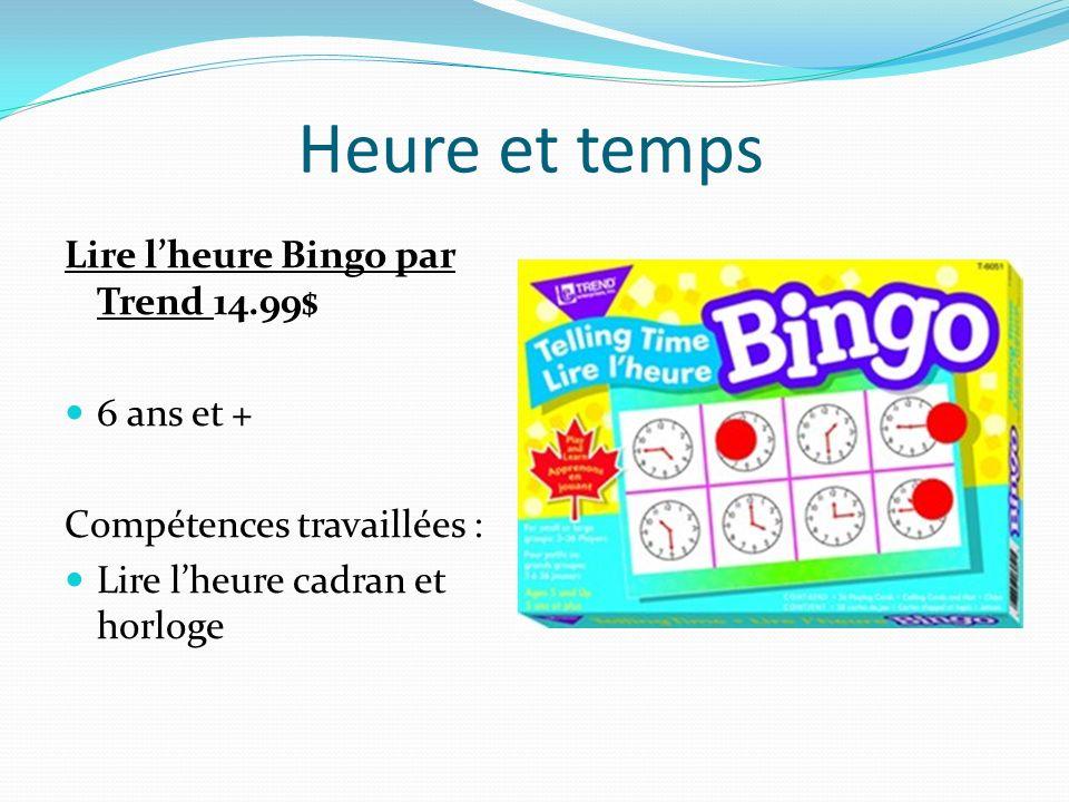 Heure et temps Lire lheure Bingo par Trend 14.99$ 6 ans et + Compétences travaillées : Lire lheure cadran et horloge