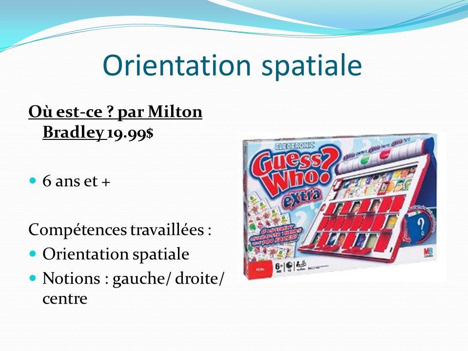 Orientation spatiale Où est-ce ? par Milton Bradley 19.99$ 6 ans et + Compétences travaillées : Orientation spatiale Notions : gauche/ droite/ centre